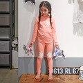 Дети Пижамы устанавливает детские пижамы для девочек Пижамы костюм Infantil Дети Хлопок розовый Пижамы и ночное белье, пижамы Кружева ночной рубашке