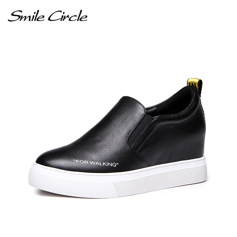 Smile Circle Wedges Sneakers Flats Genuine Leather Women shoes Lace-up Platform Fashion Casual Shoes Cat pattern Heighten 6cm smile circle 2018 new genuine leather sneakers women lace up flats shoes women casual shoes round toe flats platform shoes c6004
