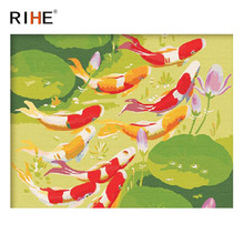 RIHE Carp Swim River Diy Painting By Numbers Animal Oil On Canvas Lotus Hand Painted Cuadros Decoracion Acrylic Paint