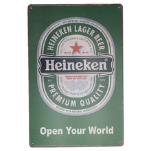 Open Your World Beer Print Vintage Metal Iron Painting Tin Signs Poster