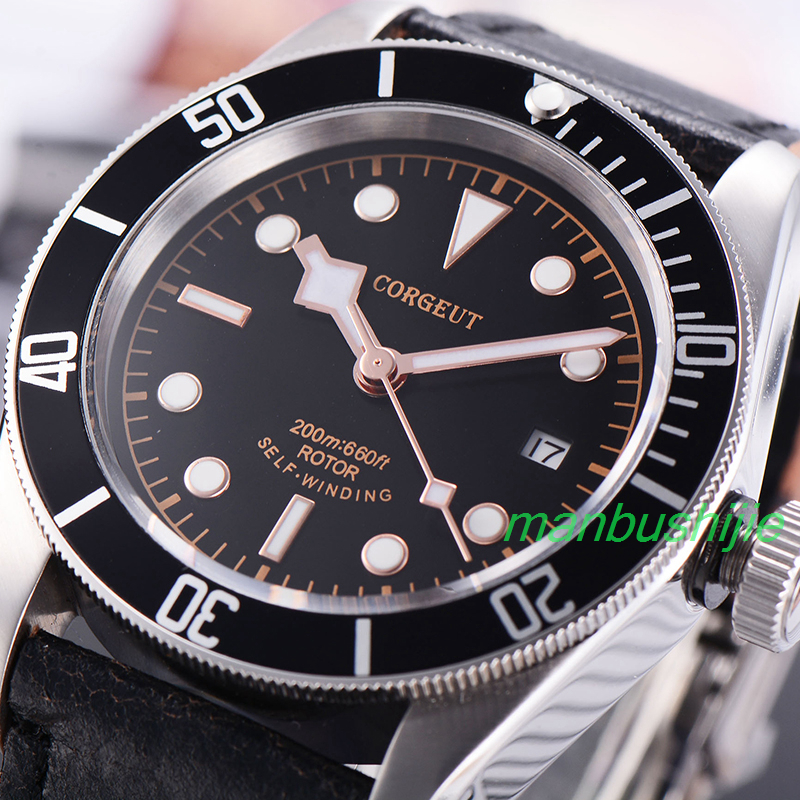 41MM Corgeut black dial rosegold marks Luminous sapphire glass Japan miyota 8215 20ATM Mens Automatic Watch 41mm corgeut dial luminous marks date sapphire glass steel miyota movement automatic mens watch