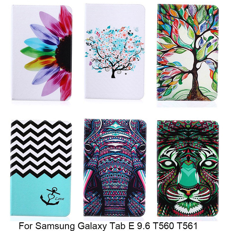 For Samsung Galaxy Tab E 9.6 T560 SM-T561 Case Cartoon Elephant Flower Pattern PU Leather Smart Cover Case For Samsung SM-T560 30pcs lot f689zz f689 zz 9x17x5mm flange bearing thin wall deep groove ball bearing mini ball bearing