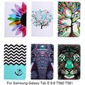 For Samsung Galaxy Tab E 9.6 T560 SM-T561 Case Cartoon Elephant Flower Pattern PU Leather Smart Cover Case For Samsung SM-T560