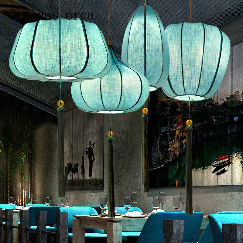 The New Chinese Classical Cloth Pendant Restaurant Living Room China Hand Knitting Creative Zen Style Chandelier Free Shipping