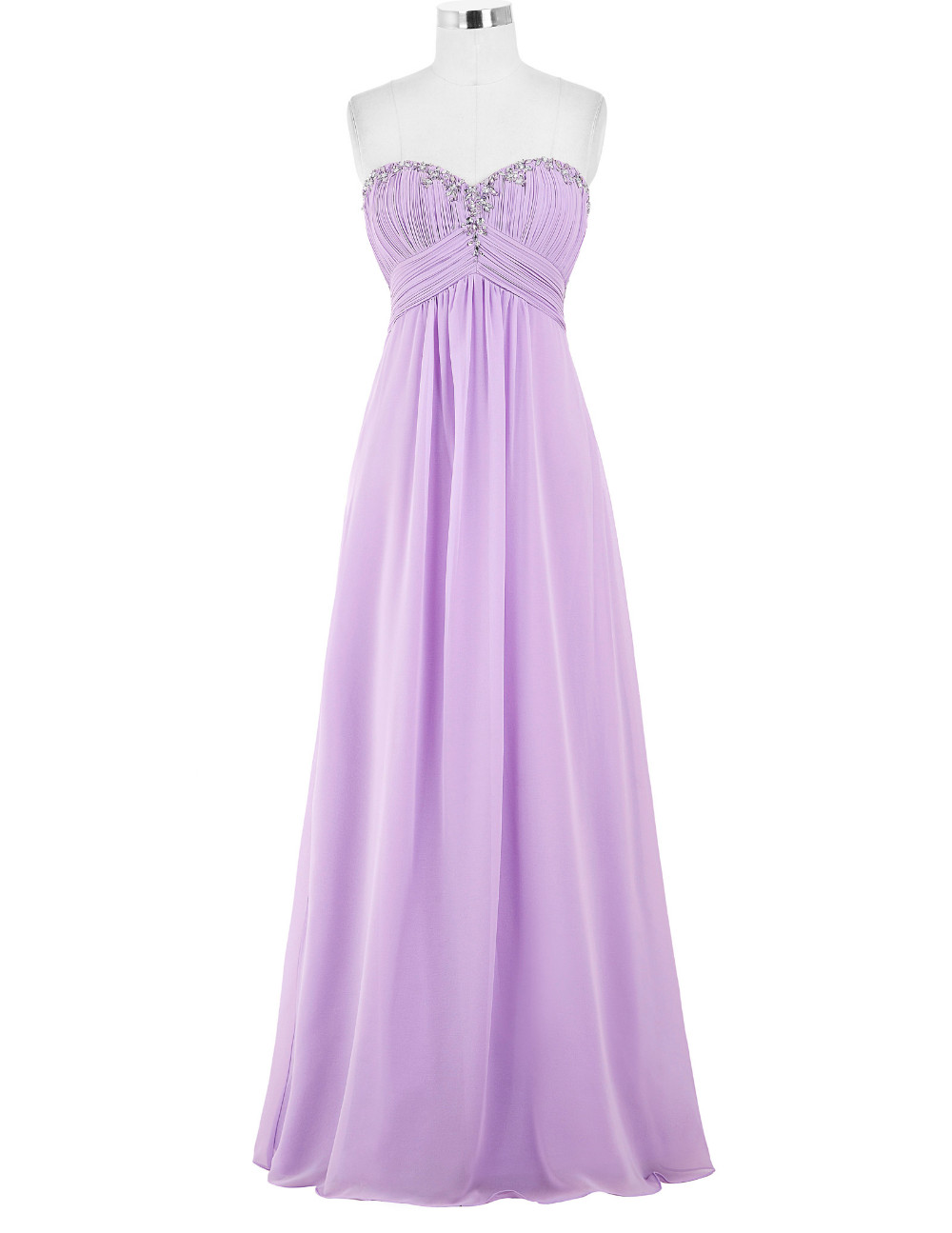 Lavender Green Royal Blue Long Chiffon Bridesmaid Dress 1