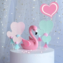 Glitter Flamingo Heart Tassel Pompom Cake Topper Card Inserted Dessert Cupcake Birthday Unicorn Party Wedding Decorations