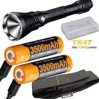 Fenix TK47 1300 люмен 2300 футов луч светодиодный фонарик с 2 x ARB L18 3500U аккумулятор, USB кабель для зарядки, чехол с аккумулятором