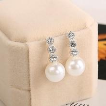 KISSWIFE 1 Pair Cute Compact Pearl Stud Earrings Lady Girls Fashion Alloy Crystal Rhinestone Earrings Women
