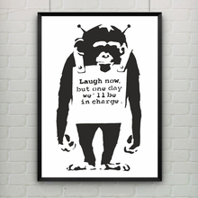 Monkeys in Charge by Banksy Print Quote Graffiti Wall Art Canvas Prints Art Poster  Wall Pictures Living Room Bar Decor No Frame поло print bar watchtower in evening