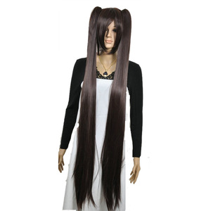 Image 1 - Strongbeauty女性のコスプレかつらダブルポニーテールロングストレート髪型2クリップオン合成耐熱性繊維かつら