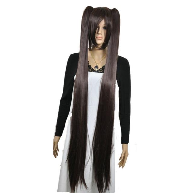 Strongbeauty女性のコスプレかつらダブルポニーテールロングストレート髪型2クリップオン合成耐熱性繊維かつら