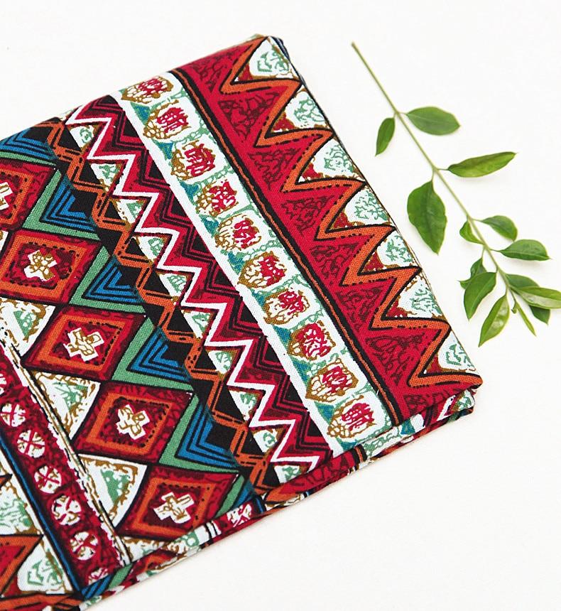 50x145 cm zachte linnen katoen etnische rode bloemen gedrukt patroon - Kunsten, ambachten en naaien