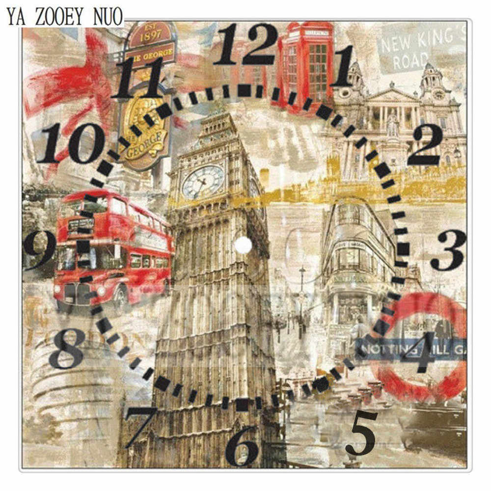 YA ZOOEY NUO Алмазная вышивка декорация часы круглые DIY Алмазная картина крестиком комплект домашнего декора наклейки на стену мозаика K1321
