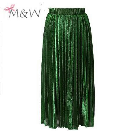 2016 summer Green Gold Sequined Pleated High Waist Women Fashion Bling Bling Ladies Party Club Midi Skirts Tutu Faldas MWD 08021