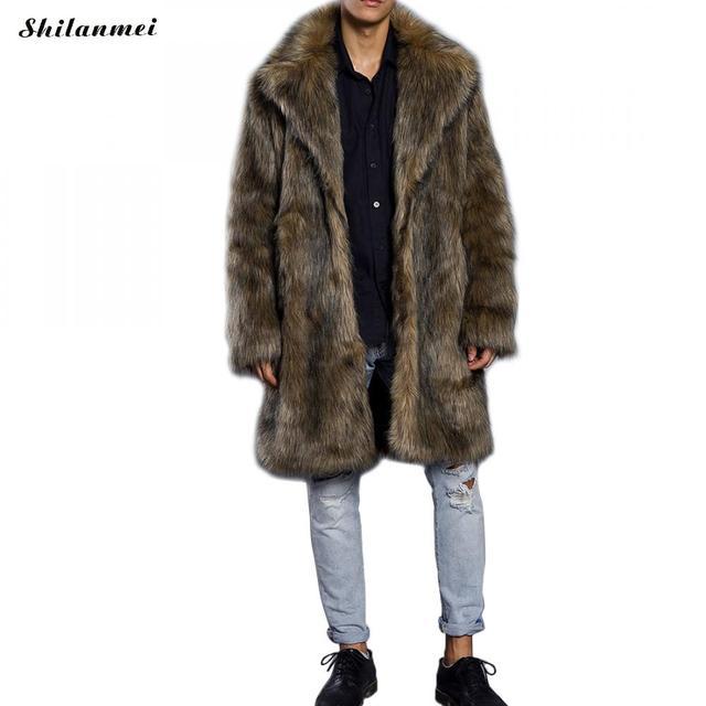 e74edb6f08d2 Ukraine men s coat winter thicken faux fur coats fluffy coat for men brown long  fur jacket big size warm green overcoat tops 3xl