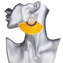 LUFANG Vintage Weaving Long Tassel Drop Earrings 2017 Fashion Big Hanging Ethnic Boho luxury Dangle Earrings For Women Jewelry