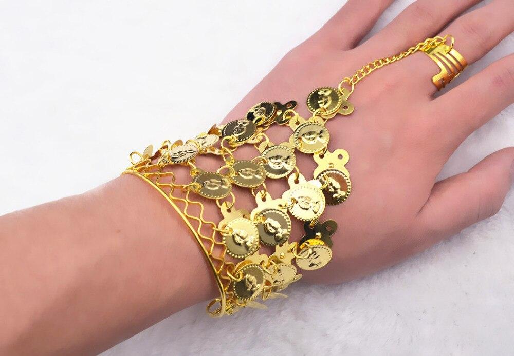 Indien Accessoires De Danse Doigt Bracelet pour Femmes Nouveaux Bijoux De Mode Or Argent Monnaie Lien