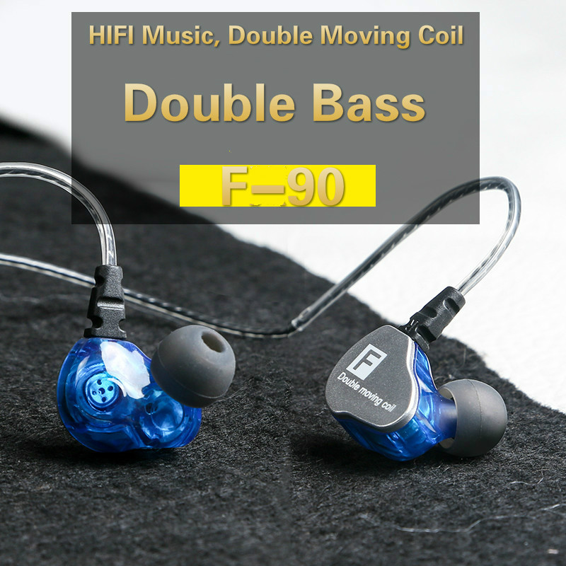 Okcsc F90 Noise Cancelling Double Moving Coil Dynamic Heave Bass Hifi In-Ear Sport Music DJ Monitor Mobile Phone Stereo Earphone tin audio t2 metal in ear earphone double dynamic drive 2dd hifi music dj monitor bass 3 5mm earbuds with mmcx interface