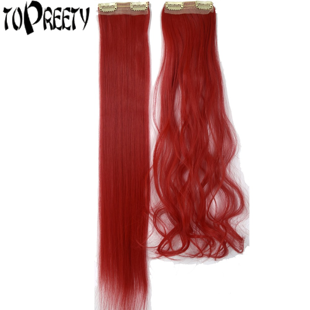 TOPREETY Synthetic Hair Heat Resistant 20gr/piece 22inches 2 Clips in hair extensions