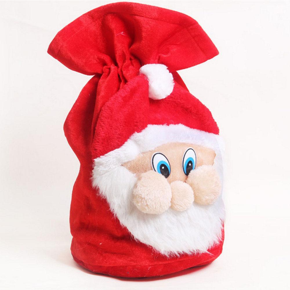 Christmas Gift Bag Santa Claus Plush Felt Cloth Candy Bag