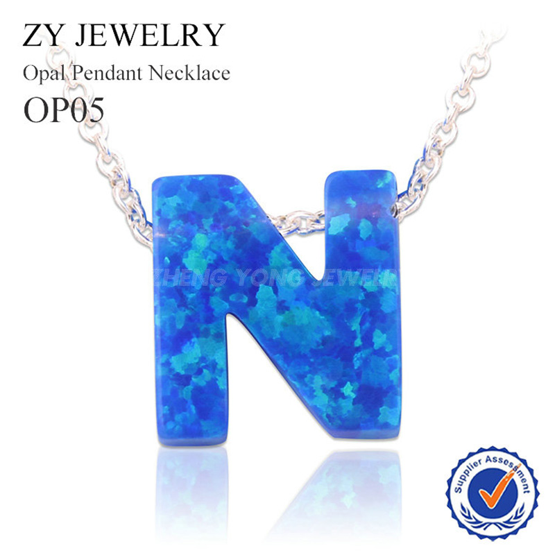 Beautiful 9.5x10mm Synthetic Letter N Blue Opal Pendant Silver Plated Necklace(China)