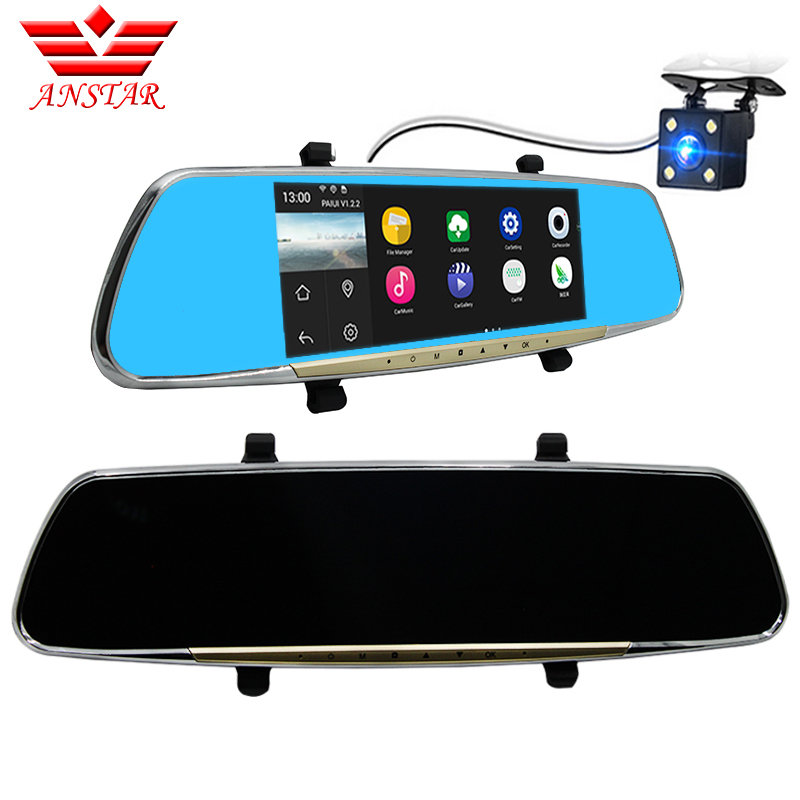 Anstar Car Camera Dvr 6.86 GPS Touch Android 4.4 FHD 1080P Dash Cam Parking Rearview Mirror Video Recorder Dual Lens Camera 5 inch car camera dvr dual lens rearview mirror video recorder fhd 1080p automobile dvr mirror dash cam
