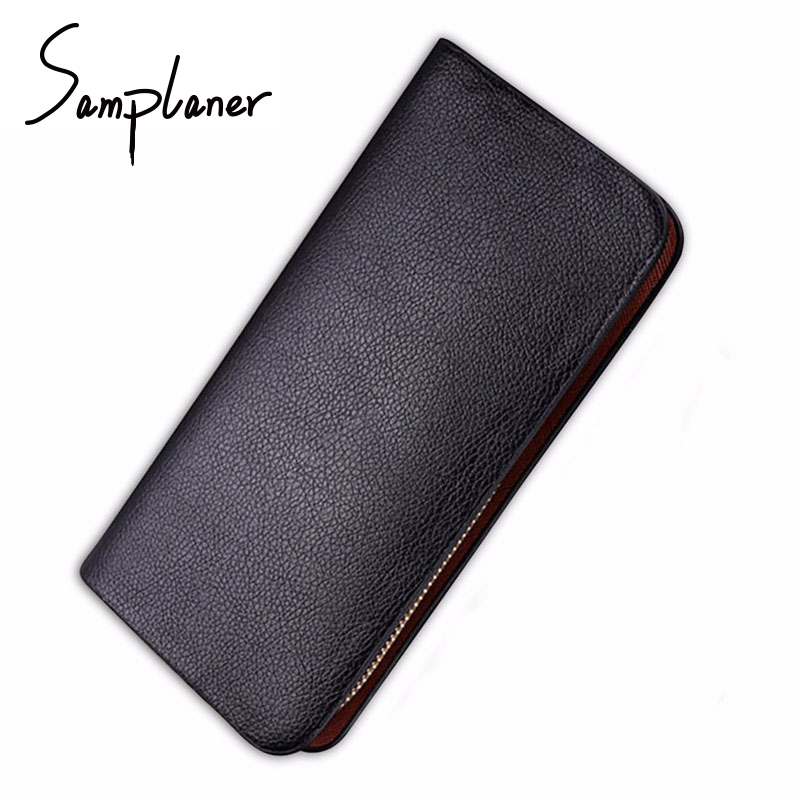 Samplaner Men Long Wallets Leather Purse Casual Men's Wallet Clutch Male Zipper Business Mens Wallet Coin Card Holders TY-Z30 feidikabolo brand zipper men wallets with phone bag pu leather clutch wallet large capacity casual long business men s wallets