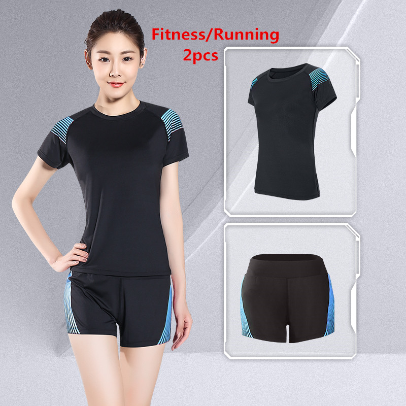 LEFAN Summer Sports Suits 2pcs Women Elastic Running Yoga Fitness Sets Female Sportswear Training Sports Clothes Sets Gym Suits