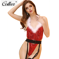 COLLEER Women Sexy Lingerie Christmas Bra Set Fastion Red Lingerie Sets Sexual Clothing Sexy Christmas Costumes