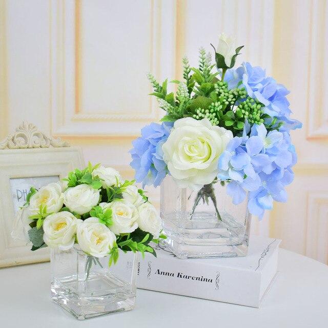 Rosas de seda hydrangea flores artificiales jarrones con flores