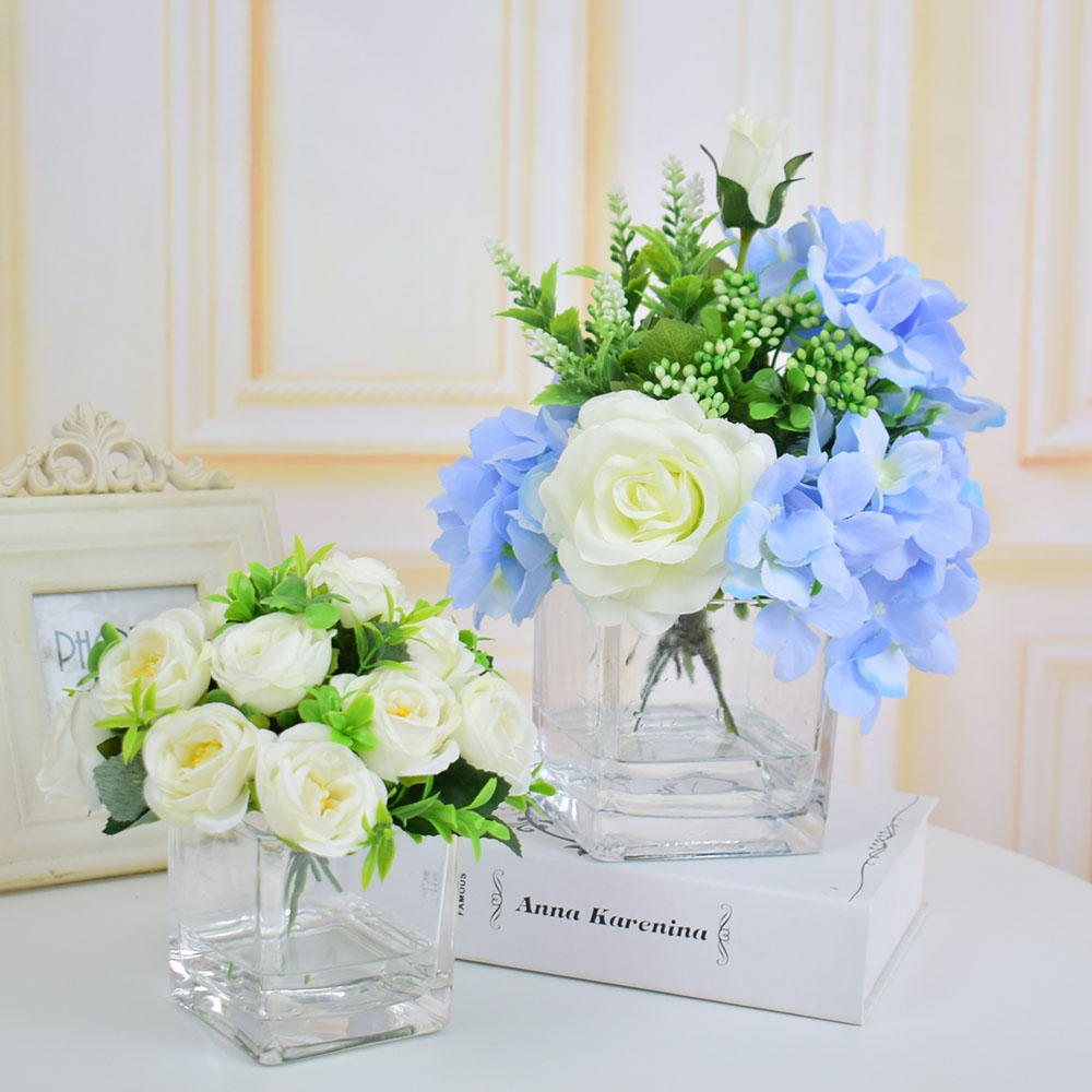Silk roses hydrangea artificial flowers vases with flowers silk roses hydrangea artificial flowers vases with flowers centerpieces glass vase for wedding decorations home table blue white in vases from home garden reviewsmspy