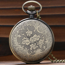 Hot Roman Vintage Copper Number Dial Pocket Watch Necklace Pendant Men Gift