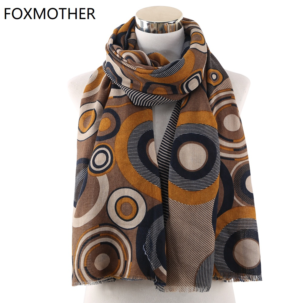 FOXMOTHER New Design Brown Vintage Round Print Scarfs Foulard   Wraps   Bufandas Pashmina   Scarf   Ladies Women 2019 Autumn Winter