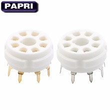 PAPRI 1PCS Ceramic K8A PCB Gold Plated 8Pin Vacuum Tube Socket Audio DIY HIFI For KT88 KT66 EL34 274B 6SN7 6V6 Etc Tube Socket papri 100pcs 12at7 ecc81 12au7 ecc82 12ax7 ecc83 e88cc el84 pcb mount 9pin ceramic b9a vacuum tube socket audio hifi diy amps