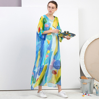 IRINAW039 Новое поступление 2018 женская одежда оригинальный принт свободные длинные шелковые летнее платье