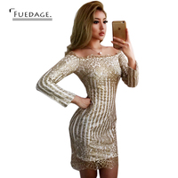 Vestido De Festa Summer Autumn Sexy Women Off The Shoulder Long Sleeve Gold Sequined Dresses Plus