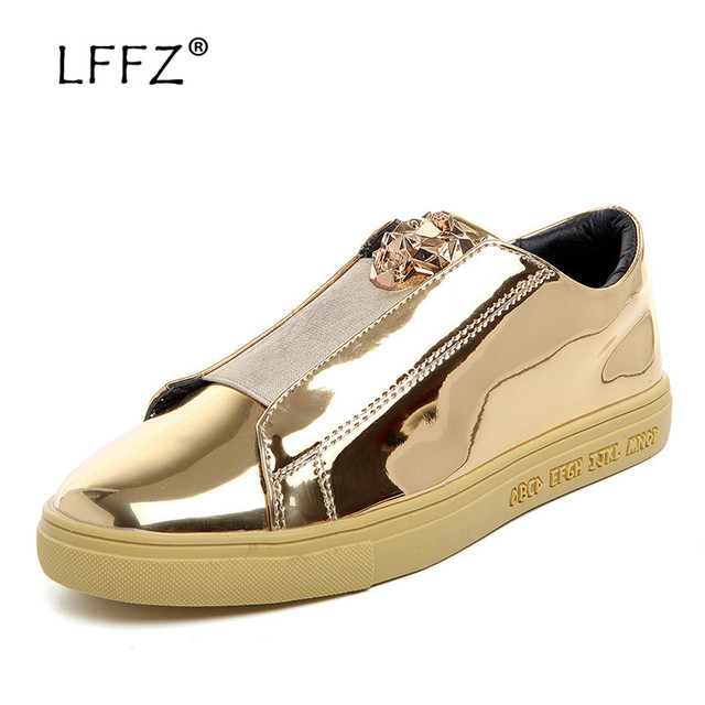 LFFZ Golden Sequin Sneakers Glossy Men Vulcanize Shoes Slip-on Round Toe Men Casual Shoes Fashion Coolest Moccasins Men Flats