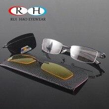 Фотография Half Rimless Eyeglasses Men Frames Optical Eyewear Frame Spectacles 2 Polarized Sunglasses Clip on Yellow Night Vision Glasses