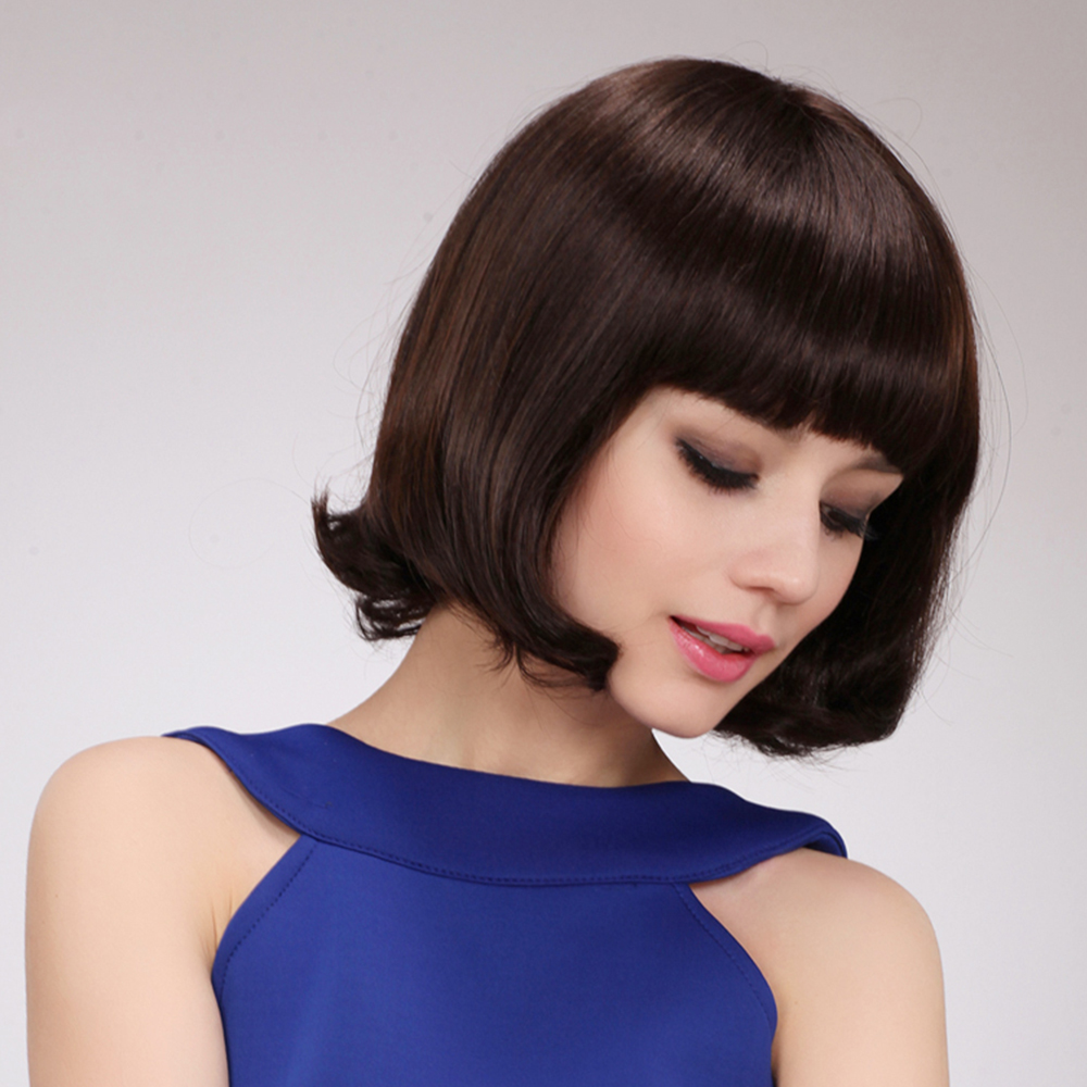 BLONDE UNICORN 10 tum kvinnor syntetisk Bob Wig med platta Bangs End - Syntetiskt hår - Foto 4