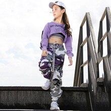 Костюм для джазовых танцев; детская одежда в стиле хип-хоп; фиолетовый топ с длинными рукавами; камуфляжные штаны; черный жилет; одежда для выступлений для девочек; DN2616