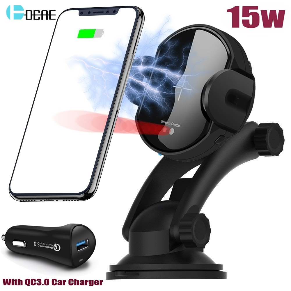 DCAE 15W Qi Car Wireless Charger Auto Clamping Mount Phone Holder QC3.0 Fast Charging for iPhone X XS XR 8 Samsung S10 S9 S8