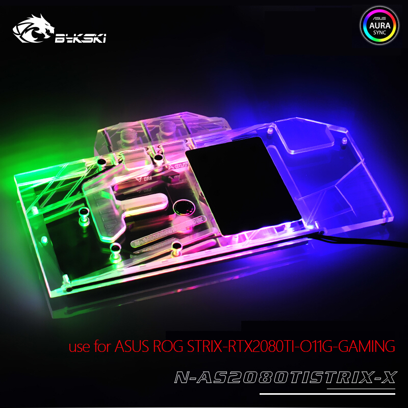 все цены на Bykski Water Block use for ASUS ROG STRIX-RTX2080TI-O11G-GAMING /Full Cover Copper Block/RGB Light/Compatible Original Backplate онлайн