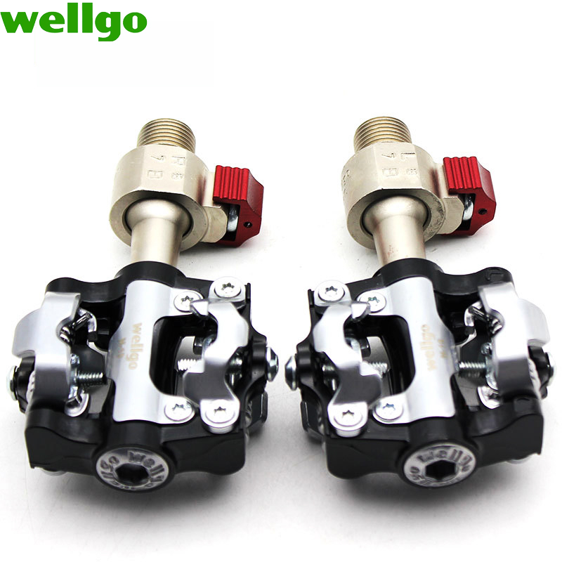WELLGO QRD M19 Bicycle Peda aluminum alloy road bike pedal mountain bike pedal bicycle parts Folding bike pedal bike lock pedal in Bicycle Pedal from Sports Entertainment