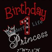 Free shipping hot fix Rhinestone Iron On Transfer Birthday Princess number  1 rhinestone transfer red with a2abd493e2ca