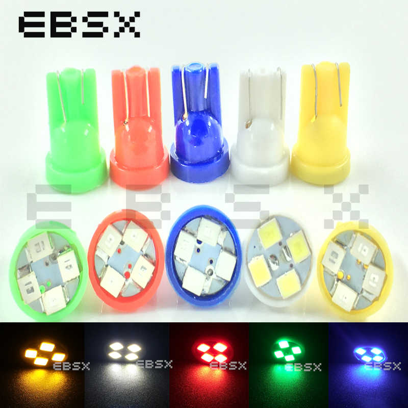 EBSX 50 PCS DC 24V T10 Led 194 168 1210 4 SMD 4 LED 3528 LED light Bulbs White Blue Red Clearance LED Wedth Lamps Reading Bulbs