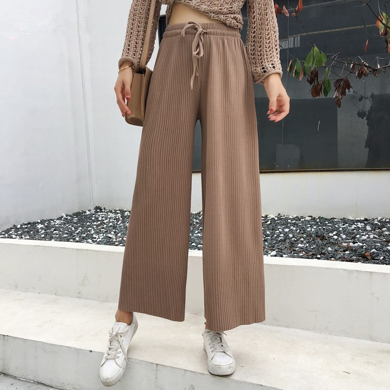 2019 Summer Women New Style Pleated Casual   Pants   Solid Color Lace Up Long   Pants   Elegant Loose Slim   Wide     Leg     Pants