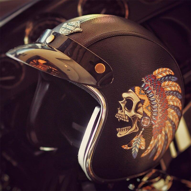 все цены на Indian and skull harley leather helmets vintage retro 3/4 open face half motorcycle helmet scooter moto Dot approved онлайн