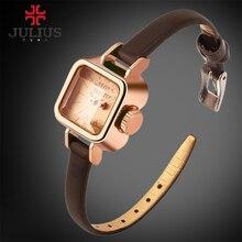 Relojes de Las Mujeres JULIUS Cuadrados De Cuero Vendedor Caliente de la Señora de la Marca de reloj de Cuarzo de Moda de Lujo Vestido de reloj de Pulsera Relogio Feminino Montre