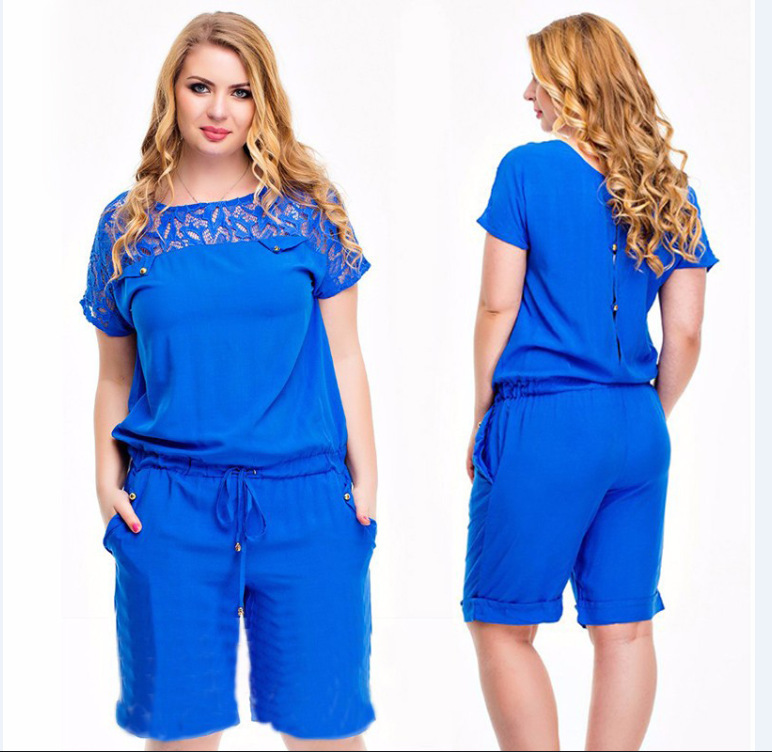 Europe HOT SALE New Summer Round COLAR Jumpsuit Plus Size Women Lace One-Piece Pants Fashion Playsuits