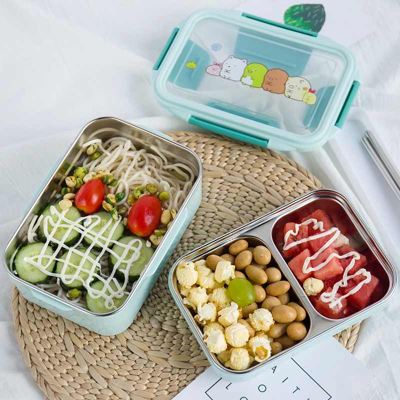 Double Layer Stainless Steel Cartoon Lunch Box for Kids Portable Picnic Bento Boxs Set  School Thermal Lunchbox Japanese Style